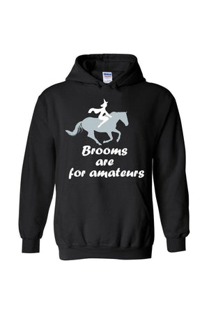 Brooms Are For Amateurs - Long Sleeve-Long Sleeve-Teescape-HODDIE-Black-S-Three Wild Horses