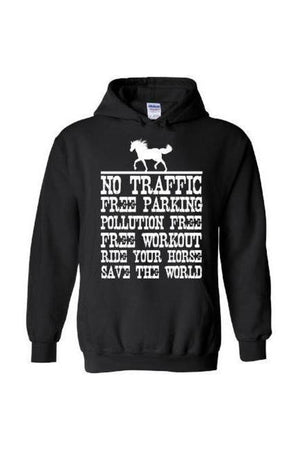 Ride Your Horse, Save the World - Long Sleeve-Long Sleeve-Teescape-Hoodie-Black-S-Three Wild Horses