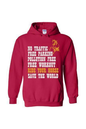 Ride Your Horse, Save the World - Long Sleeve-Long Sleeve-Teescape-Hoodie-Cherry Red-S-Three Wild Horses