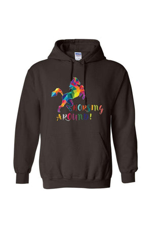 Horsing Around - Long Sleeve-Long Sleeve-Teescape-HODDIE-Chocolate-S-Three Wild Horses