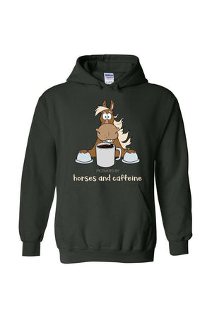 Horses and Caffeine - Long Sleeve-Long Sleeve-Teescape-HOODIE-Forest Green-S-Three Wild Horses