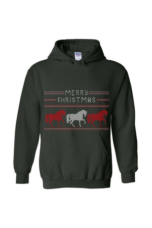 Ugly Christmas Sweater - Long Sleeve-Long Sleeve-Teescape-HODDIE-Forest Green-S-Three Wild Horses