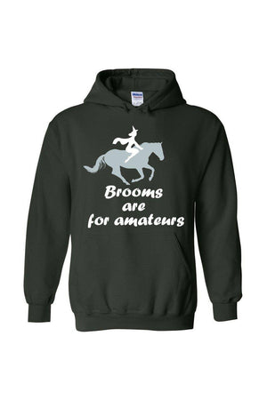 Brooms Are For Amateurs - Long Sleeve-Long Sleeve-Teescape-HODDIE-Forest Green-S-Three Wild Horses