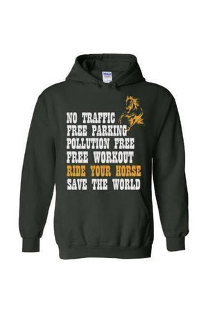 Ride Your Horse, Save the World - Long Sleeve-Long Sleeve-Teescape-Hoodie-Forest Green-S-Three Wild Horses