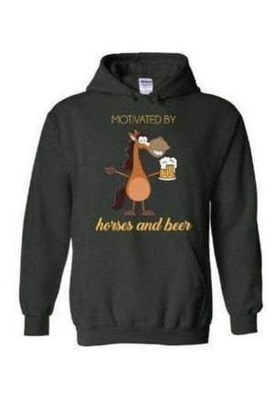 Horses and Beer - Long Sleeve-Long Sleeve-Teescape-HOODIE-Forest Green-S-Three Wild Horses