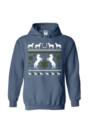 Ugly Christmas Sweater - Long Sleeve-Long Sleeve-Teescape-HODDIE-Indigo Blue-S-Three Wild Horses