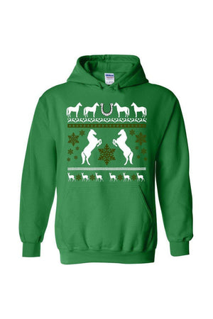 Ugly Christmas Sweater - Long Sleeve-Long Sleeve-Teescape-HODDIE-Irish Green-S-Three Wild Horses