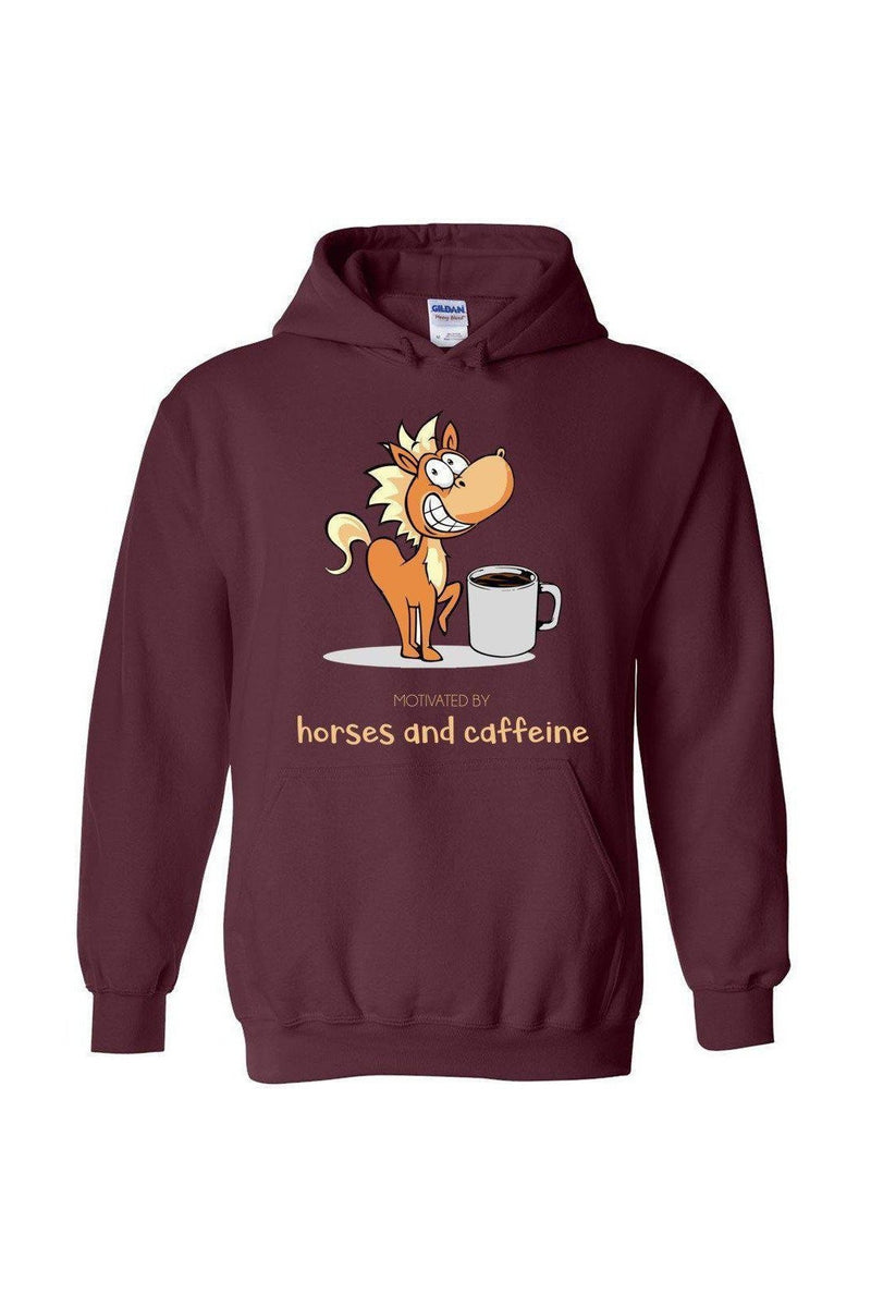 Horses and Caffeine - Long Sleeve-Long Sleeve-Teescape-HOODIE-Maroon-S-Three Wild Horses