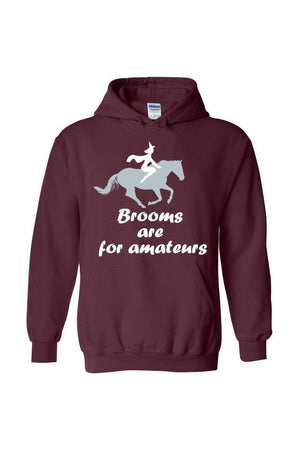 Brooms Are For Amateurs - Long Sleeve-Long Sleeve-Teescape-HODDIE-Maroon-S-Three Wild Horses