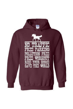 Ride Your Horse, Save the World - Long Sleeve-Long Sleeve-Teescape-Hoodie-Maroon-S-Three Wild Horses