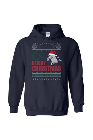 Ugly Christmas Sweater - Long Sleeve-Long Sleeve-Teescape-HODDIE-Navy-S-Three Wild Horses