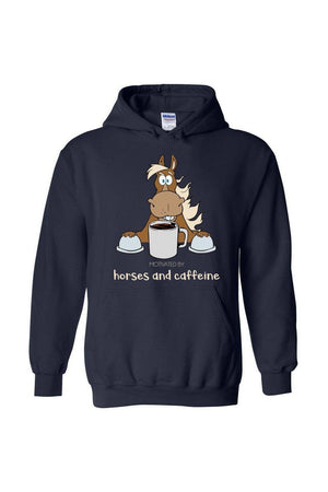 Horses and Caffeine - Long Sleeve-Long Sleeve-Teescape-HOODIE-Navy-S-Three Wild Horses