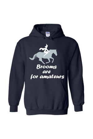 Brooms Are For Amateurs - Long Sleeve-Long Sleeve-Teescape-HODDIE-Navy-S-Three Wild Horses