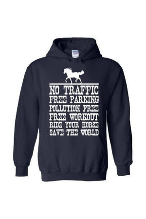 Ride Your Horse, Save the World - Long Sleeve-Long Sleeve-Teescape-Hoodie-Navy-S-Three Wild Horses