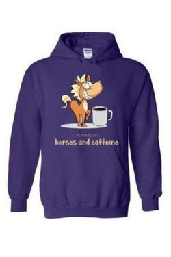 Horses and Caffeine - Long Sleeve-Long Sleeve-Teescape-HOODIE-Purple-S-Three Wild Horses