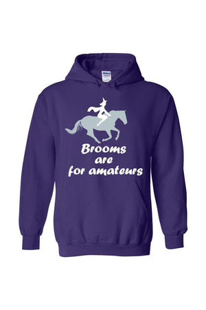 Brooms Are For Amateurs - Long Sleeve-Long Sleeve-Teescape-HODDIE-Purple-S-Three Wild Horses