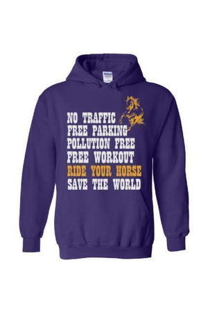 Ride Your Horse, Save the World - Long Sleeve-Long Sleeve-Teescape-Hoodie-Purple-S-Three Wild Horses