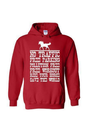 Ride Your Horse, Save the World - Long Sleeve-Long Sleeve-Teescape-Hoodie-Red-S-Three Wild Horses