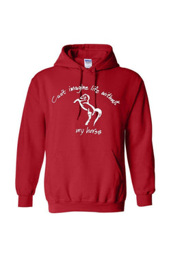 Can't Imagine My Life Without My horse - Long Sleeve-Long Sleeve-Teescape-HODDIE-Red-S-Three Wild Horses