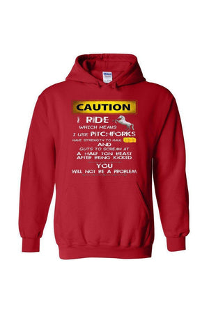 Caution! I Ride Horses - Long Sleeve-Long Sleeve-Teescape-HOODIE-Red-S-Three Wild Horses