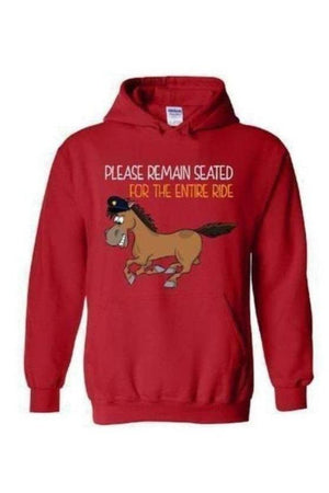 Please Remain Seated For The Entire Ride - Long Sleeve-Long Sleeve-Teescape-Hoodie-Red-S-Three Wild Horses