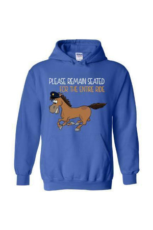 Please Remain Seated For The Entire Ride - Long Sleeve-Long Sleeve-Teescape-Hoodie-Royal Blue-S-Three Wild Horses
