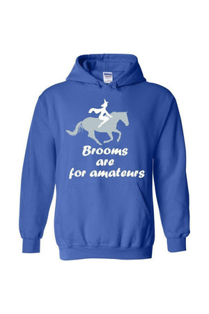 Brooms Are For Amateurs - Long Sleeve-Long Sleeve-Teescape-HODDIE-Royal Blue-S-Three Wild Horses