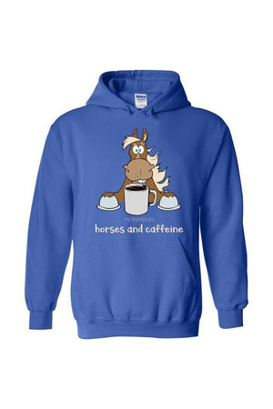 Horses and Caffeine - Long Sleeve-Long Sleeve-Teescape-HOODIE-Royal Blue-S-Three Wild Horses