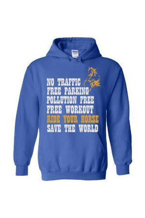 Ride Your Horse, Save the World - Long Sleeve-Long Sleeve-Teescape-Hoodie-Royal Blue-S-Three Wild Horses