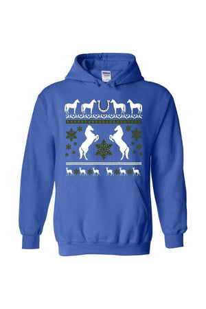 Ugly Christmas Sweater - Long Sleeve-Long Sleeve-Teescape-HODDIE-Royal Blue-S-Three Wild Horses