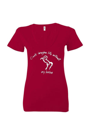 Can't Imagine My Life Without My Horse - Tops-Tops-Three Wild Horses-WOMEN'S V-NECK TEE-Red-S-Three Wild Horses