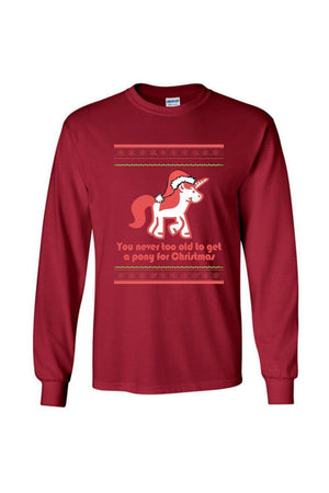 Ugly Christmas Sweater - Long Sleeve-Long Sleeve-Teescape-Long Sleeve Tee-Cardinal Red-S-Three Wild Horses