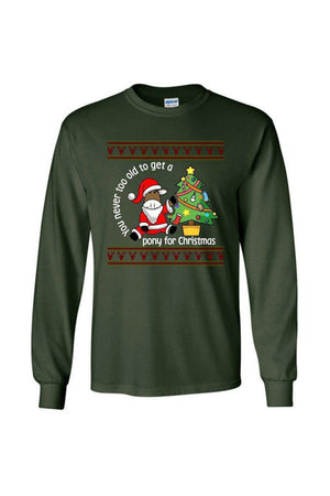 Ugly Christmas Sweater - Long Sleeve-Long Sleeve-Teescape-Long Sleeve Tee-Forest Green-S-Three Wild Horses