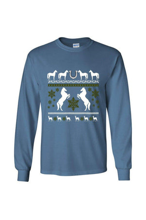 Ugly Christmas Sweater - Long Sleeve-Long Sleeve-Teescape-Long Sleeve Tee-Indigo Blue-S-Three Wild Horses