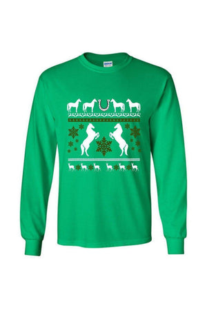 Ugly Christmas Sweater - Long Sleeve-Long Sleeve-Teescape-Long Sleeve Tee-Irish Green-S-Three Wild Horses