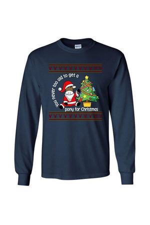 Ugly Christmas Sweater - Long Sleeve-Long Sleeve-Teescape-Long Sleeve Tee-Navy-S-Three Wild Horses