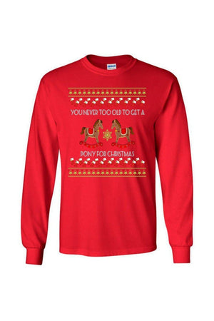 Ugly Christmas Sweater - Long Sleeve-Long Sleeve-Teescape-Long Sleeve Tee-Red-S-Three Wild Horses