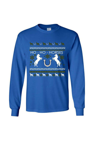 Ugly Christmas Sweater - Long Sleeve-Long Sleeve-Teescape-Long Sleeve Tee-Royal Blue-S-Three Wild Horses