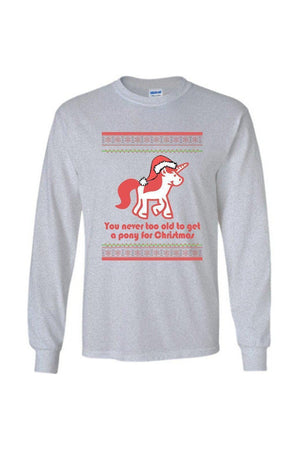Ugly Christmas Sweater - Long Sleeve-Long Sleeve-Teescape-Long Sleeve Tee-Sports Grey-S-Three Wild Horses