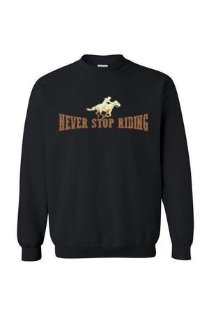 Never Stop Riding - Long Sleeve-Long Sleeve-Teescape-SWEATSHIRT-Black-S-Three Wild Horses