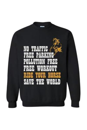 Ride Your Horse, Save the World - Long Sleeve-Long Sleeve-Teescape-Sweatshirt-Black-S-Three Wild Horses