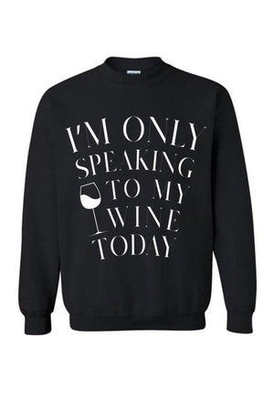 Only Speaking to My Wine-Long Sleeve In Black-Long Sleeve-Teescape-Black-S-Three Wild Horses