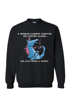 Yes, she also needs a horse - Long sleeve-Long Sleeve-Teescape-SWEATSHIRT-Black-S-Three Wild Horses