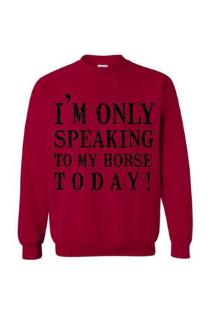 Only Speaking To My Horse- Long Sleeve-Long Sleeve-Teescape-Cardinal Red-S-Three Wild Horses