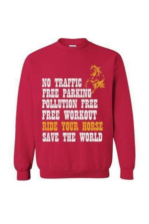 Ride Your Horse, Save the World - Long Sleeve-Long Sleeve-Teescape-Sweatshirt-Cherry Red-S-Three Wild Horses