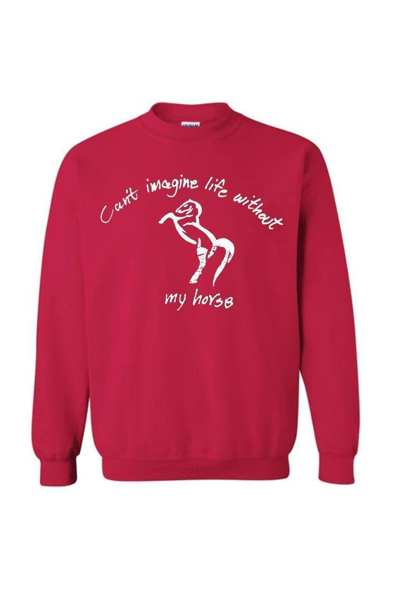Can't Imagine My Life Without My horse - Long Sleeve-Long Sleeve-Teescape-SWEATSHIRT-Red-S-Three Wild Horses