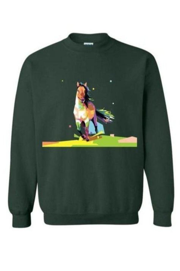 Running Around - Long Sleeve-Long Sleeve-Teescape-SWEATSHIRT-Forest Green-S-Three Wild Horses
