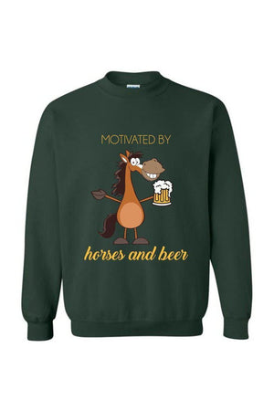 Horses and Beer - Long Sleeve-Long Sleeve-Teescape-Sweatshirt-Forest Green-S-Three Wild Horses