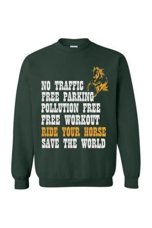 Ride Your Horse, Save the World - Long Sleeve-Long Sleeve-Teescape-Sweatshirt-Forest Green-S-Three Wild Horses