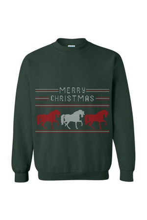 Ugly Christmas Sweater - Long Sleeve-Long Sleeve-Teescape-Sweatshirt-Forest Green-S-Three Wild Horses